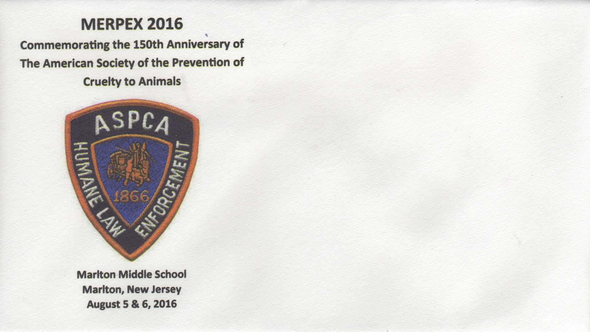 2016 Cachet for the 150th anniversary of the ASPCA
